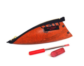 Boys pencil pouch, man gifts, pencil case boy, teen gift, upcycled, basketball, orange, teacher gift, athletic trainer, orange