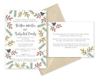 Baby Shower Invitation- Birds and Florals
