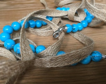 Turquoise Necklace with white gold Italian clasp