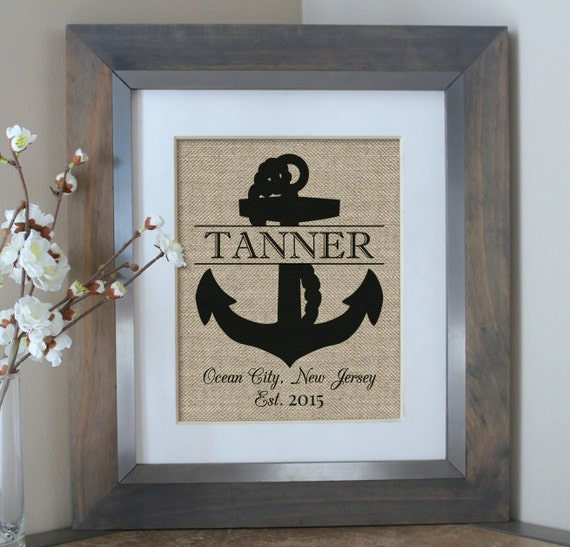 Personalized Beach House Plaques: Personalized Beach House Sign Burlap Print By EmmaAndTheBean