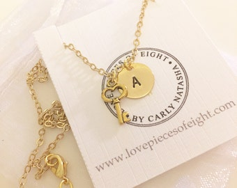 Gold Plated Key Necklace - Optional Extra Personalised Initial Disc