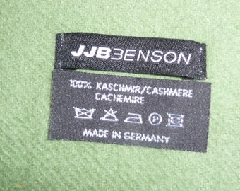 Vintage rare  JJB BENSON moss green 100% cashmere scarf made in Germany