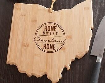 Ohio State Shaped Cutting Board, Engraved Ohio Shaped Cutting Board