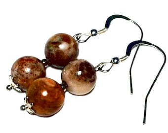 Petrified wood  fossil wood fossilized wood sterling silver earrings gift from Seattle WA Jackson MS Washington Mississippi mother's day mom