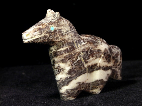 Traditional Style Horse Fetish Carving Zebra Marble By