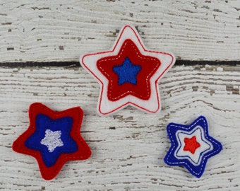 Triple Star Feltie Set of 4 - Hair Bow Supplies - Badge Reel Cover - Craft Supply - Scrapbooking - Card Making - Planner Clip