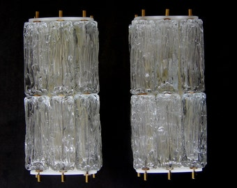 Pair of rare Mid Century Wall Lamps | Sconces by VEREINIGTE WERKSTÄTTEN | Murano Glass by VENINI, Italy, 1960s