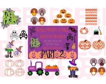 Halloween & Fall Bundle Part 2 - SVG, DXF, EPS, png, cutting files for Silhouette and Cricut Explore Machines.