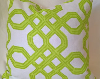 """Lilly Pulitzer Lee Jofa Well Connected Tini Green Linen Custom Pillow, Throw Pillow, Decorative Pillow 18""""x18"""""""