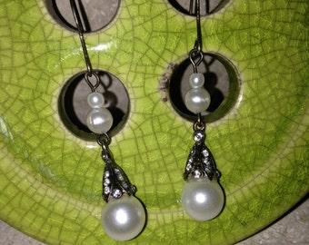 Pearl and Bronze Dangle Earrings, Bronze Earrings, Pearl Dangle Earrings, Dangle Earrings