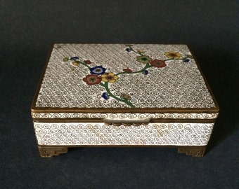 Antique Chinese Cloisonné Hinged Box White with Flowers Prunus