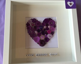 Personalised purple button heart - wedding gift - anniversary gift - engagement gift - handmade - choose any colour