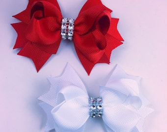 Holiday hair bow set, red and white hair bows