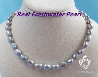 Baroque pearl necklace real pearl necklace,grey pearl necklace,big freshwater pearl necklace baroque pearl necklace,Grey color pearl