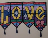 LOVE Stained Glass Quilted Banner