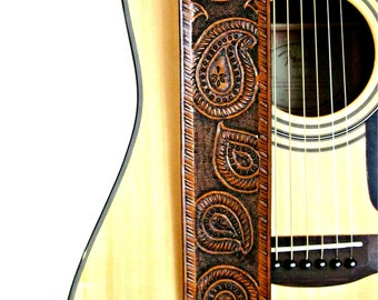Paisley Leather Guitar Strap Hand Tooled and Adjustable, Western Guitar Straps, Acoustic, Electric, Rustic, Country