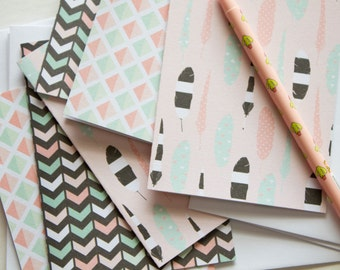 geometric note card, stationary cards, stationery set, blank cards, blank note cards, note card set, modern stationary, feather stationery
