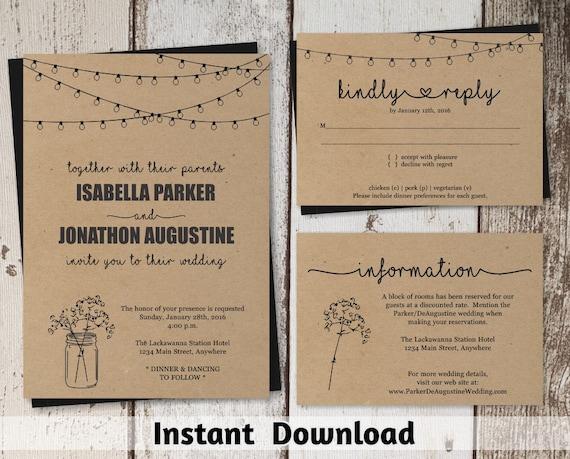 Wedding Invitation Template - Rustic Mason Jar & Fairy Lights ...