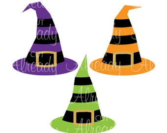 Witch Hat Striped, 3 witch hats, Halloween SVG and DXF, Halloween cut file, Instant Download