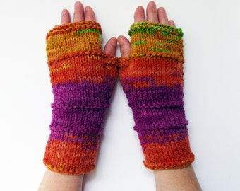 Fingerless  Gloves, Batik Gloves, Knit Accessories Outdoors gift, Multi Color Arm Warmers, Knit Gloves, Knit Fingerless Mittens, womens gift