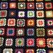 Large Vintage Afghan Crochet Granny Square Blanket Throw Handmade Black Multi Color Fringed