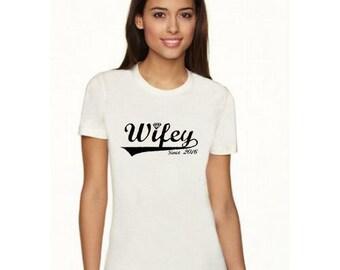 Wifey Since 2016 T-Shirt Womens Shirt Wedding Shirt Wedding Gift Idea
