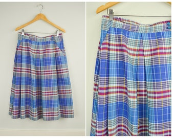 Plaid Skirt, Midi Skirt 32, High Waisted Skirt, Large, Circle Skirt, Vintage Clothing, Vintage Clothes, Spring Skirt, Purple, Blue, Retro