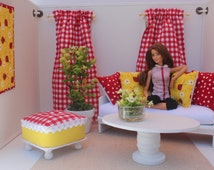 Blythe/Barbie Dollhouse- Red, Yellow, Curtains, Pillows, Ottoman, 1:6 Scale Accessories in Picnic, and Bumble Bee Theme