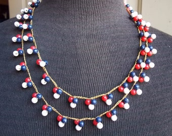 Vintage red, white and blue patriotic beaded necklace