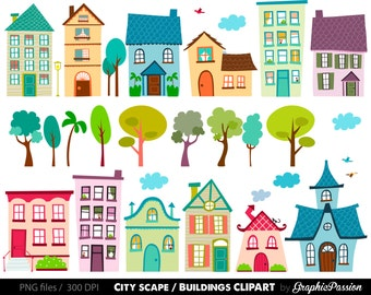 Houses Clip Art Set- houses clipart, cute houses, neighborhood, trees, church, bakery, buildings, school instant download