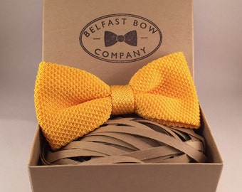 Handmade Knitted Bowtie in Yellow