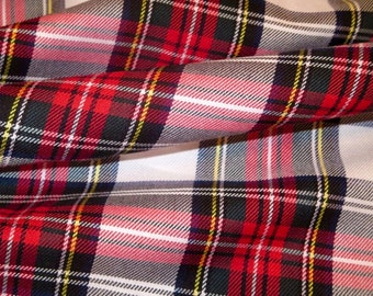 Sale By 5 Yards~Dress Stewart Tartan Plaid Poly Viscose fabric~Red White Black Plaid~Suiting Kilt Skirts Decor Wedding Fabric@sohoskrits