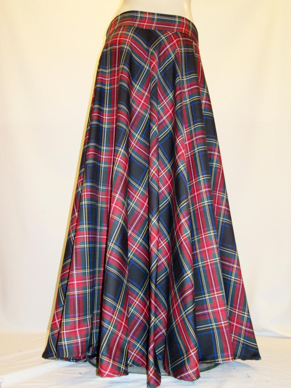 Plaid maxi skirt | Etsy