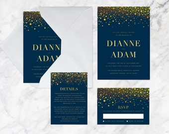 Printable Wedding Invitation Set, Navy Blue Gold Confetti Glitter Celebration Wedding Invitation Set