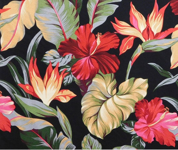 Upholstery Fabric Tropical Floral Hawaii Hibiscus Monstera