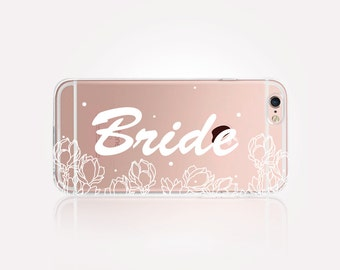 Bride Clear Phone Case - Clear Case - For iPhone 8, 8 Plus, X, iPhone 7 Plus, 7, SE, 5, 6S Plus, 6S,6 Plus, Samsung S8,S8 Plus,Transparent