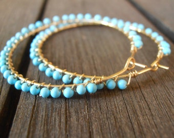 Turquoise and gold filled hoop earrings / Turquoise Wrapped Hoop Circle Earrings /Gold filled hoop earrings / Turquoise earrings /