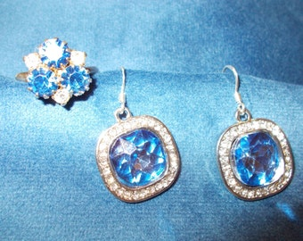 Royal Blue crystal ring and earrings set
