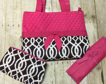 monogrammed diaper bag 3 piece set personalized pink brown pattern