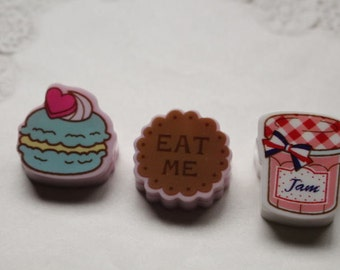 Japanese cute clip set - 3 small clips - macarron - biscuit - jam/pink
