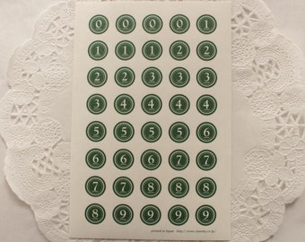 Japanese lovely number seal - 0-9 - 12mm - 200 pieces - green - classiky