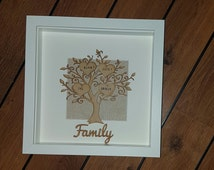 Personalised family tree framed, Gift, Wall Art, Customised, Family tree gift, Handmade family tree, Box Framed Family tree