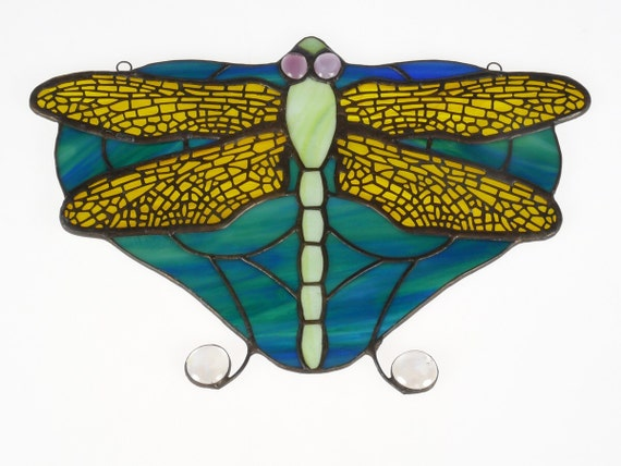 Dragonfly Art, Dragonfly Suncatcher, Stained Glass Window Hangings, Stained Glass Fusion, Stained Glass Panel, Wall Art, Suncatcher