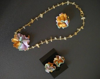 """Flower necklace citrine necklace lariat flowers citrine collection """"Spring"""""""