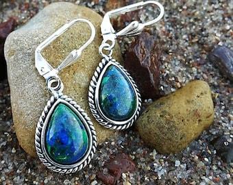 Sterling Silver & Eilat Stone Earrings