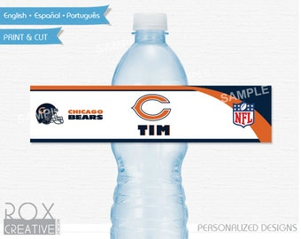 Chicago Bears Party Water Labels, Printable Labels, Digital – Customized