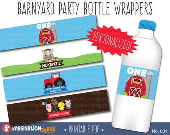Personalized Barnyard Birthday Bottle Wrappers Jar Labels PRINTABLE / Robot Birthday Party / Party Printable Bottle Wraps / Farm / No. 001