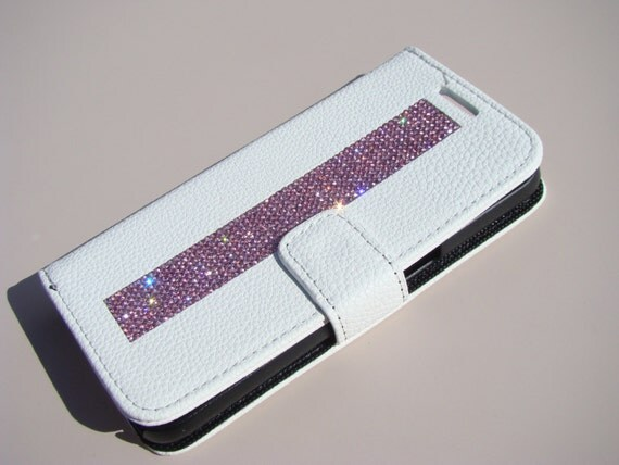Galaxy S7 Pink Diamond Crystals on White Wallet Case. Velvet/Silk Pouch bag Included, Genuine Rangsee Crystal Cases.