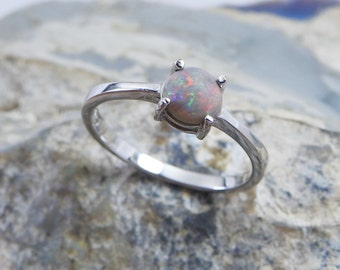 Australian Natural Solid Opal with Multi-Color Fires Sterling Silver Ring.
