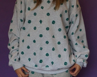 Geometric shape all over screen print sweatshirt